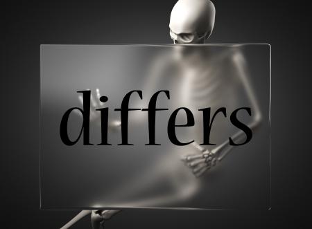 differs: word on glass billboard