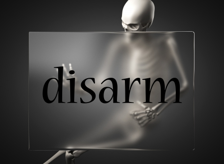 disarm: word on glass billboard