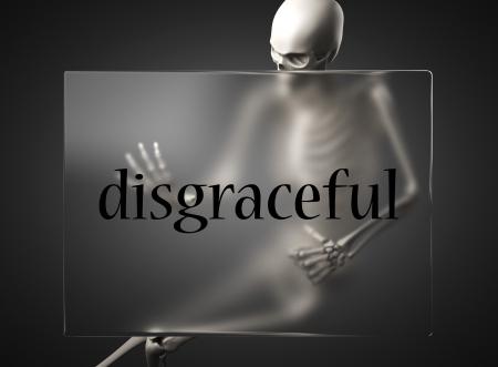 disgraceful: word on glass billboard