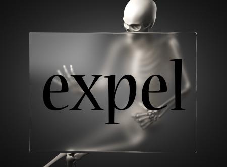 expel: word on glass billboard