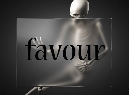 favour: word on glass billboard