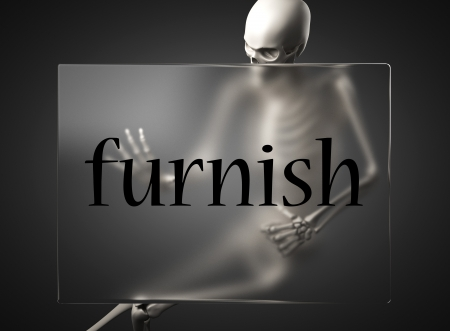 furnish: word on glass billboard