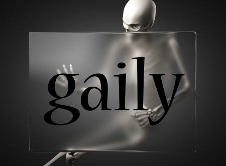 gaily: word on glass billboard