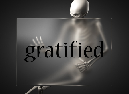 gratified: word on glass billboard