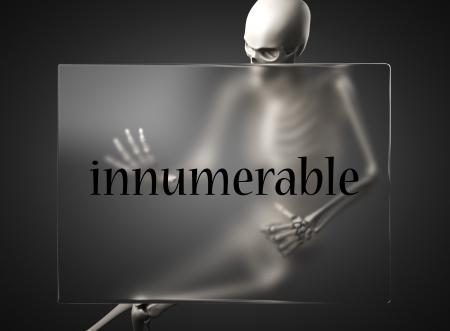 innumerable: word on glass billboard