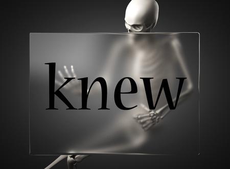 knew: word on glass billboard