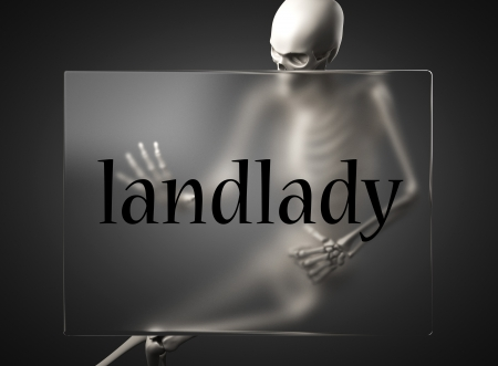 landlady: word on glass billboard