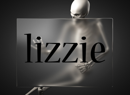 lizzie: word on glass billboard