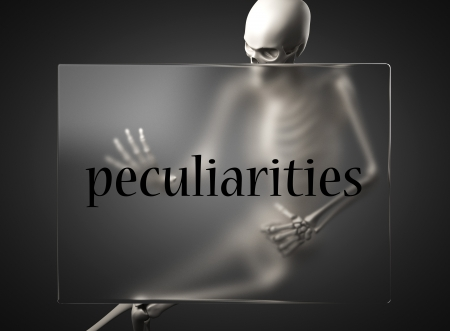 peculiarities: word on glass billboard