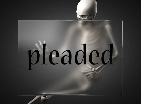 pleaded: word on glass billboard