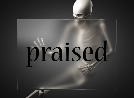 praised: word on glass billboard
