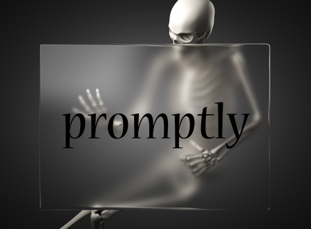 promptly: word on glass billboard