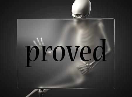 proved: parola sul tabellone di vetro
