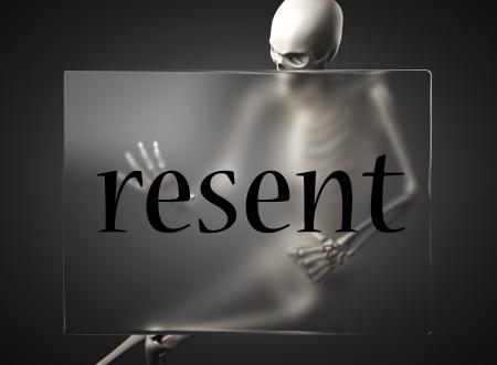 resent: word on glass billboard