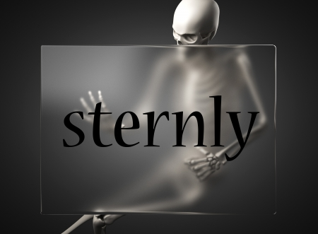 sternly: word on glass billboard