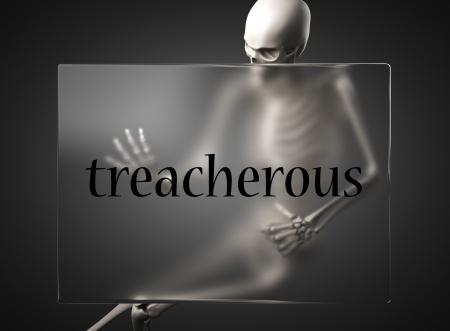 treacherous: word on glass billboard