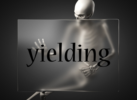 yielding: word on glass billboard