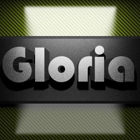 gloria: metal word on carbon