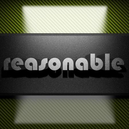 reasonable: metal word on carbon