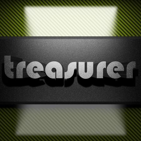 treasurer: metal word on carbon