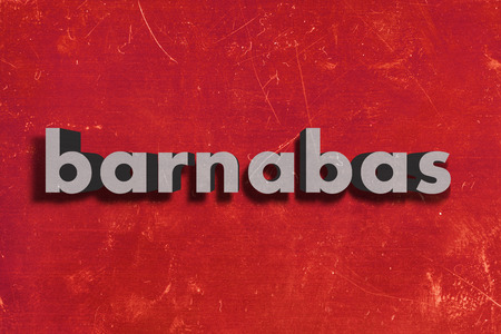 barnabas: gray word on red wall