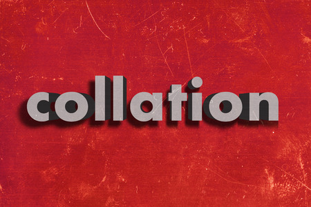collation: gray word on red wall