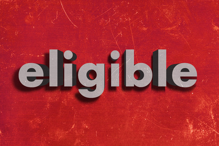 eligible: gray word on red wall