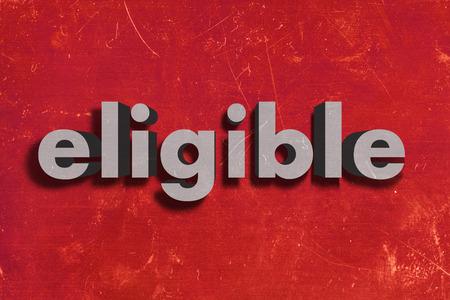 eligible: palabra gris en la pared roja