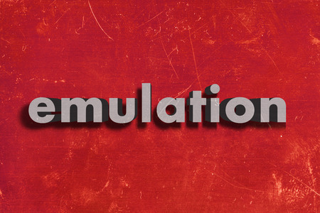emulation: gray word on red wall