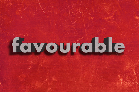 favourable: gray word on red wall