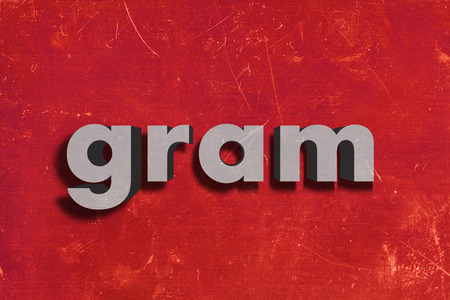 red gram: gray word on red wall