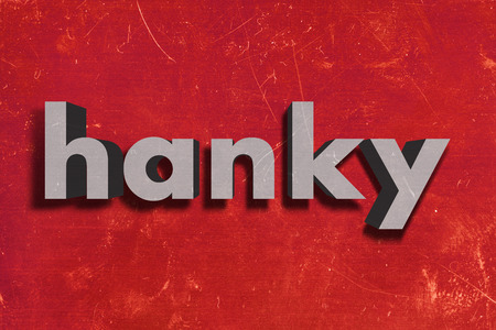 hanky: gray word on red wall