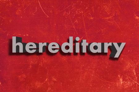 hereditary: gray word on red wall