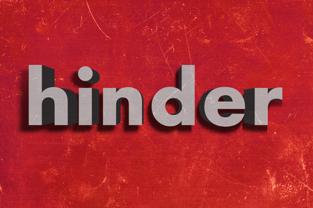 hinder: gray word on red wall