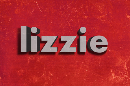lizzie: gray word on red wall