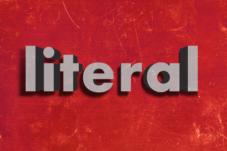 literal: gray word on red wall