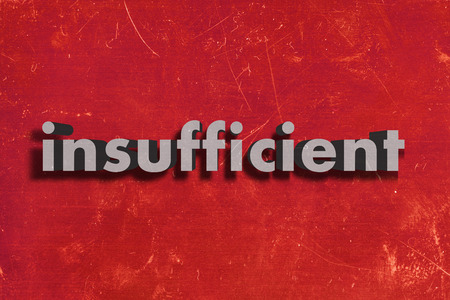insufficient: gray word on red wall