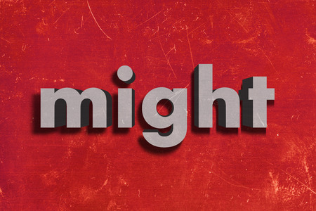 might: word on red wall