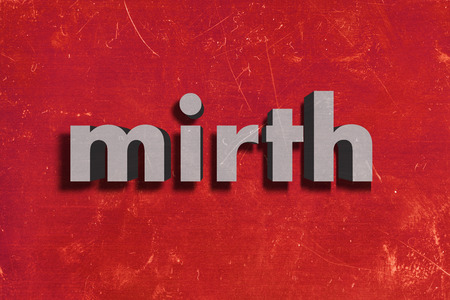 mirth: word on red wall