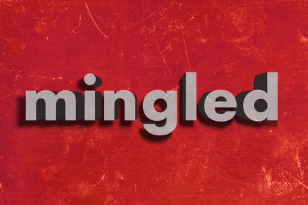 mingled: gray word on red wall