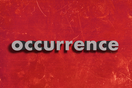 occurrence: gray word on red wall