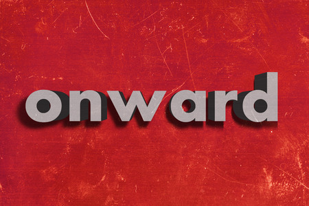 onward: gray word on red wall