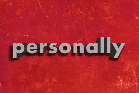 personally: gray word on red wall