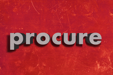 procure: gray word on red wall