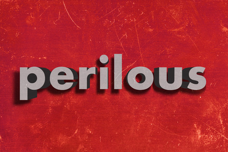 perilous: gray word on red wall