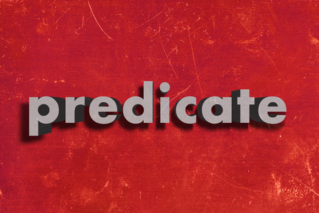 predicate: gray word on red wall