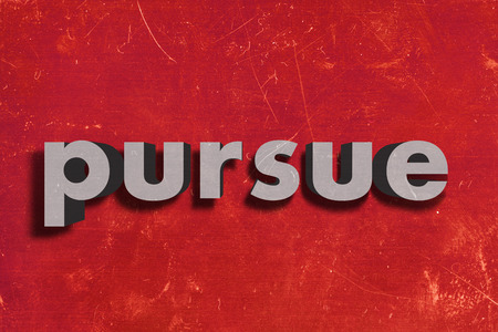 pursue: gray word on red wall