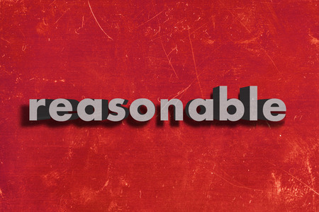 reasonable: gray word on red wall