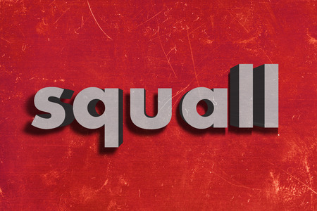 squall: gray word on red wall
