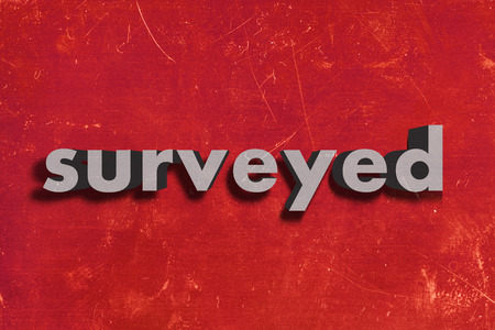 surveyed: gray word on red wall